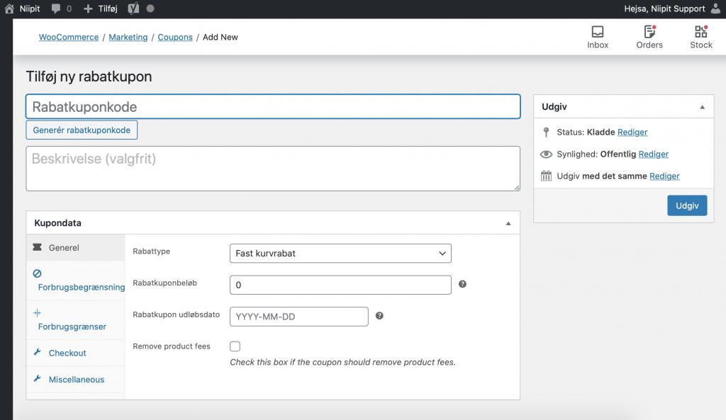 Sådan laver du en rabatkode til din webshop i WordPress / WooCommerce